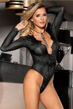 Body noir manches longues - Paris Hollywood : Séduisant body sensuel noir, en maille extensible soulignée de dentelle.