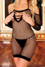 Robe Diable Innocent - Noir : Robe filet à larges mailles sans couture, totalement ouverte dans le dos, et totalement transparente.